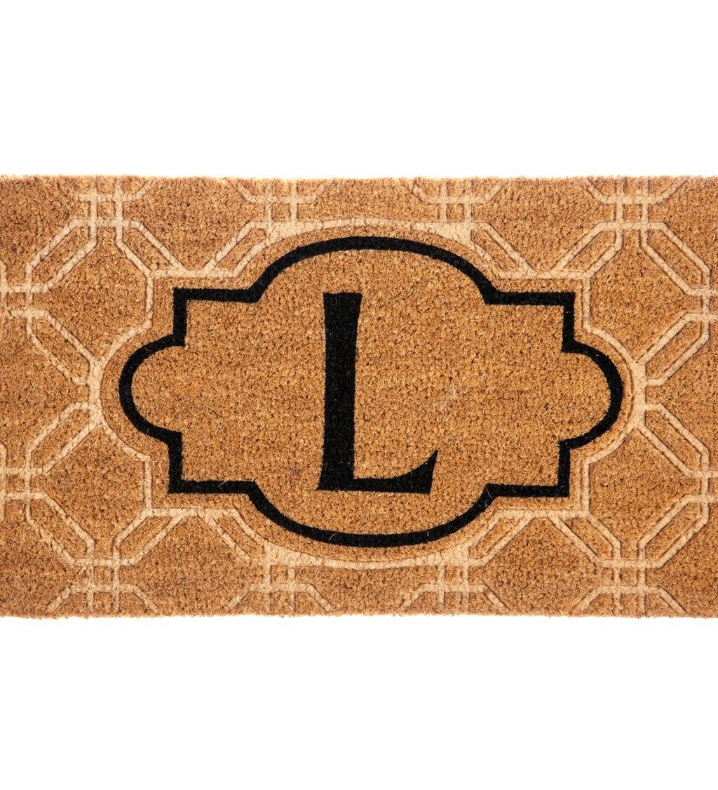 Embossed Monogram Coir Mat, Letter L