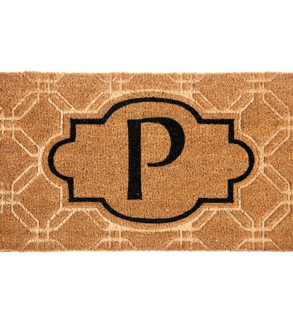 Embossed Monogram Coir Mat, Letter P