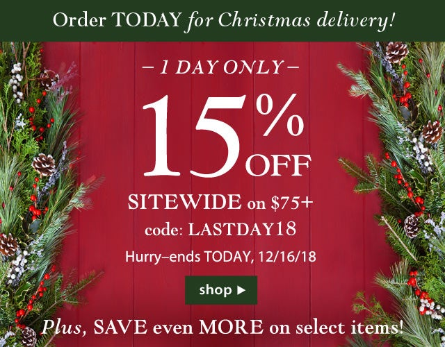 Order today for Christmas Delivery! 15% off Sitewide on $75+ with code LASTDAY18. Plus save even MORE on select items! Hurry, ends Today, 12/16/18. Shop