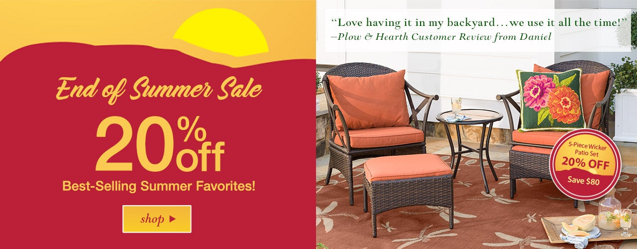 Summer Sale: 20% off best-selling favorites! 5-Piece Wicker Patio Set 20% off. Save $80! Shop