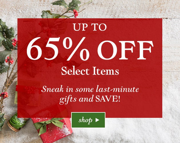 Sneak in some last-minute shopping and SAVE! Up to 65% off select items. Shop