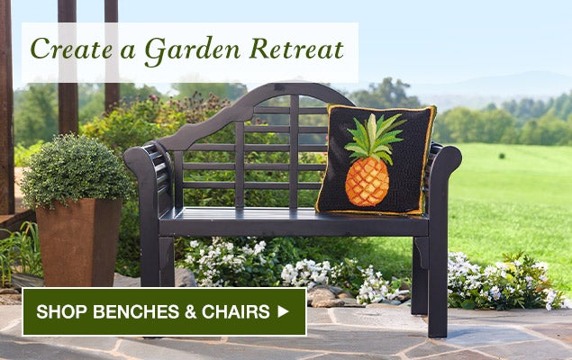 Create a garden retreat. Shop Benches & Chairs.