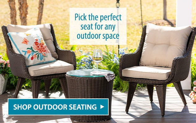 Pick the perfect seat for any outdoor space. Shop outdoor seating.