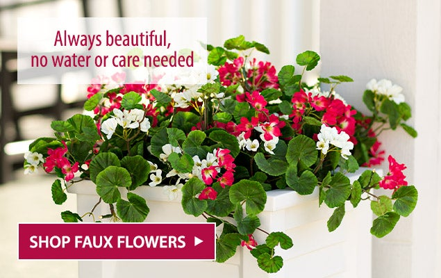 Faux Red and White Geranium Urn/Planter Filler. Always beautiful no water or care needed - Shop Faux Flowers