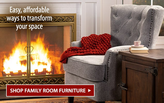 Image of Beverly Chair in front of fireplace screen. Easy, affordable ways to transform your space - Shop Family Room Furniture