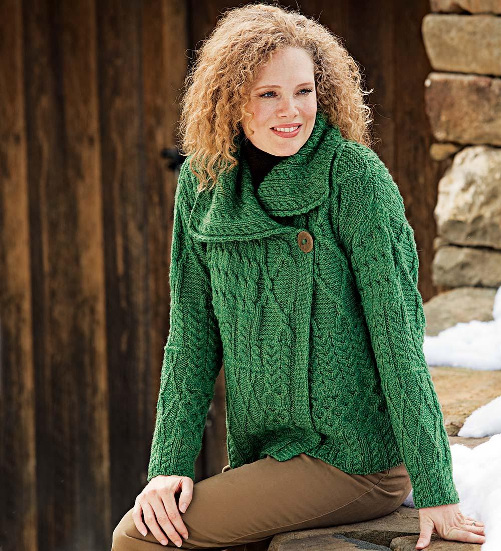 Merino Wool Corina Cardigan Sweater with Single-Button Front in Green