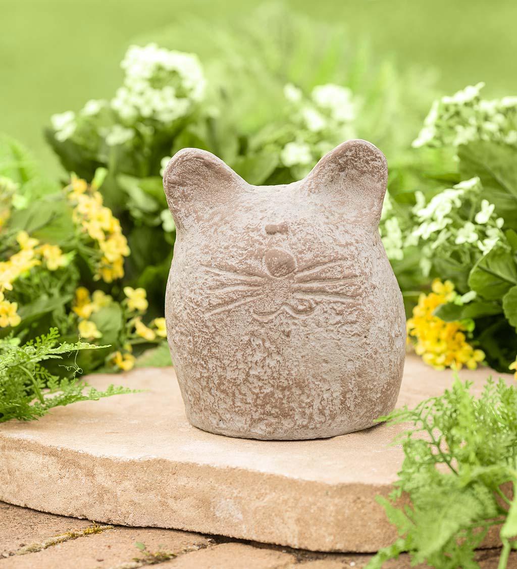 Round Happy Cat Garden Sculpture