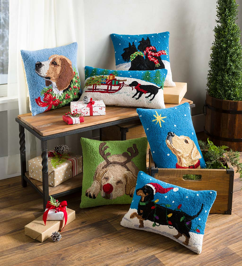 Assortment of Hooked Wool Dog Holiday Throw Pillows