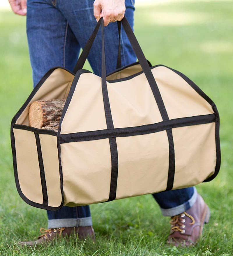 Canvas Log Carrier in Tan
