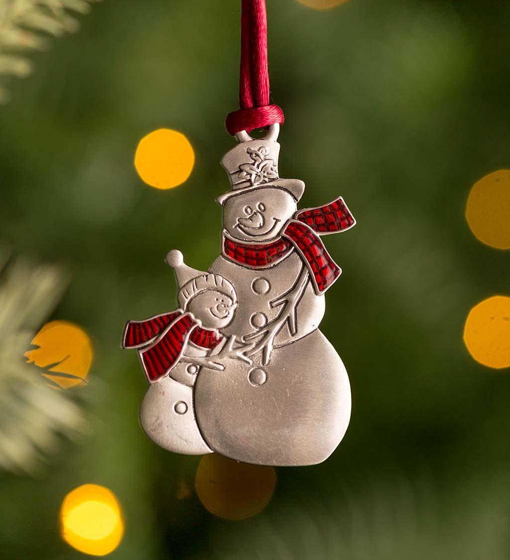 Solid Pewter Christmas Tree Ornament - Snowmen