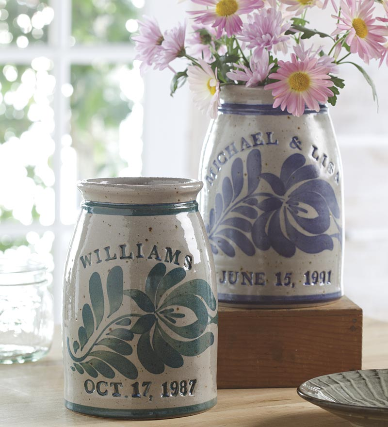 Personalized Stoneware Wedding Crock in Blue and Green