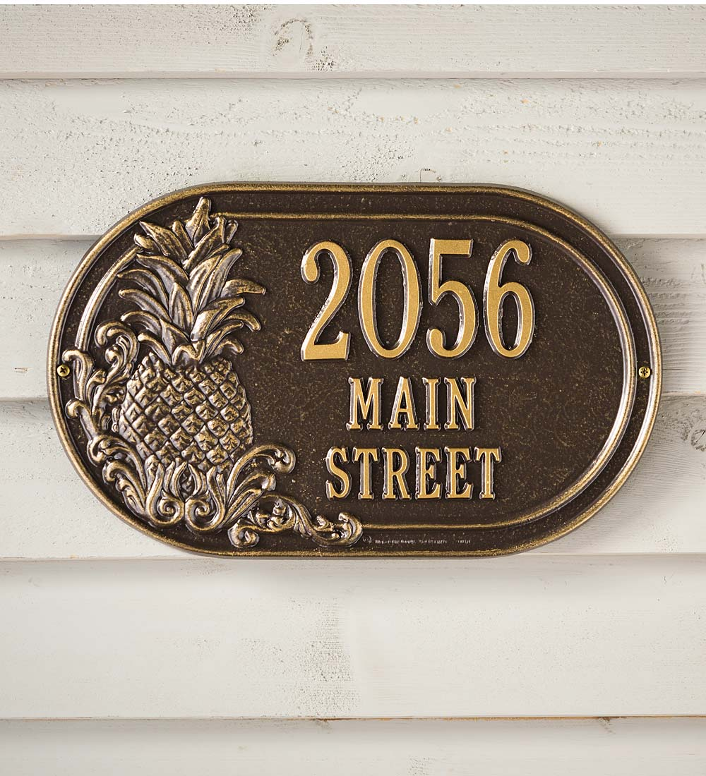 Personalized Pineapple Address Plaque in Antique Brass