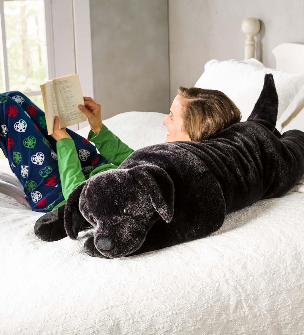Labrador Retriever Plush Cuddle Animal Body Pillow - Black