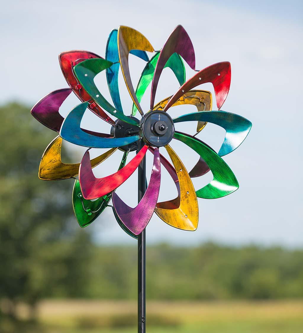 Solar Lighted LED Flower Metal Wind Spinner with Bi-Direction Rotors - Antique