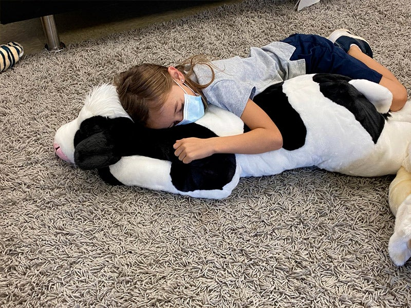 child with animal pillow