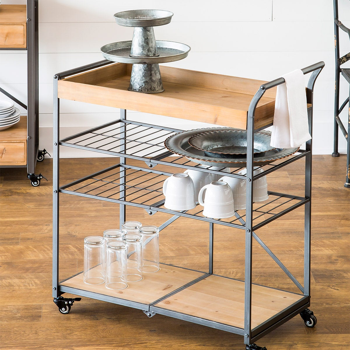 Folding Metal and Wood Serving Cart with Wheels