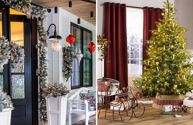 holiday decorated front porch and living room