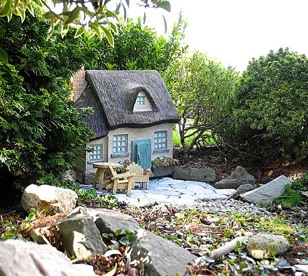 Gray Fairy Garden Cottage