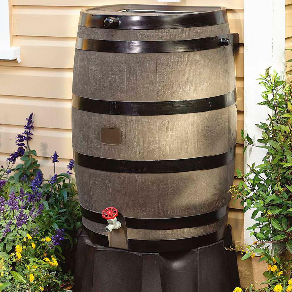 50-Gallon Rain Barrel with Flat Back
