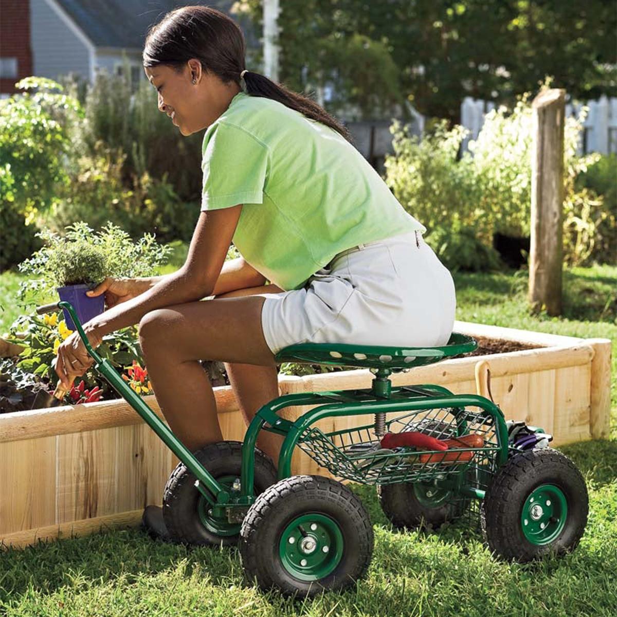 Green Rolling Scoot-N-Do Garden Seat