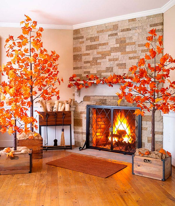 Middleton Fireplace Screen with Doors with Indoor/Outdoor Electric Lighted Maple Trees