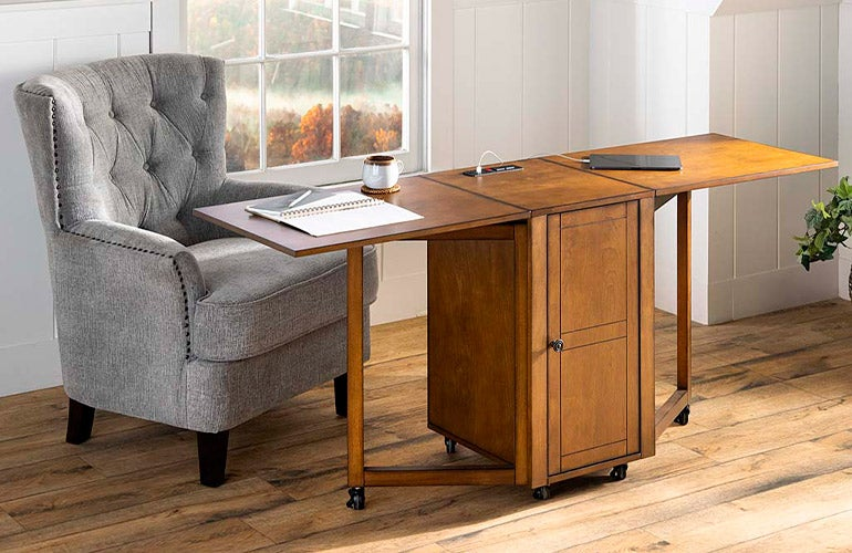 Folding Hideaway Double Desk with Cabinet and Chargers