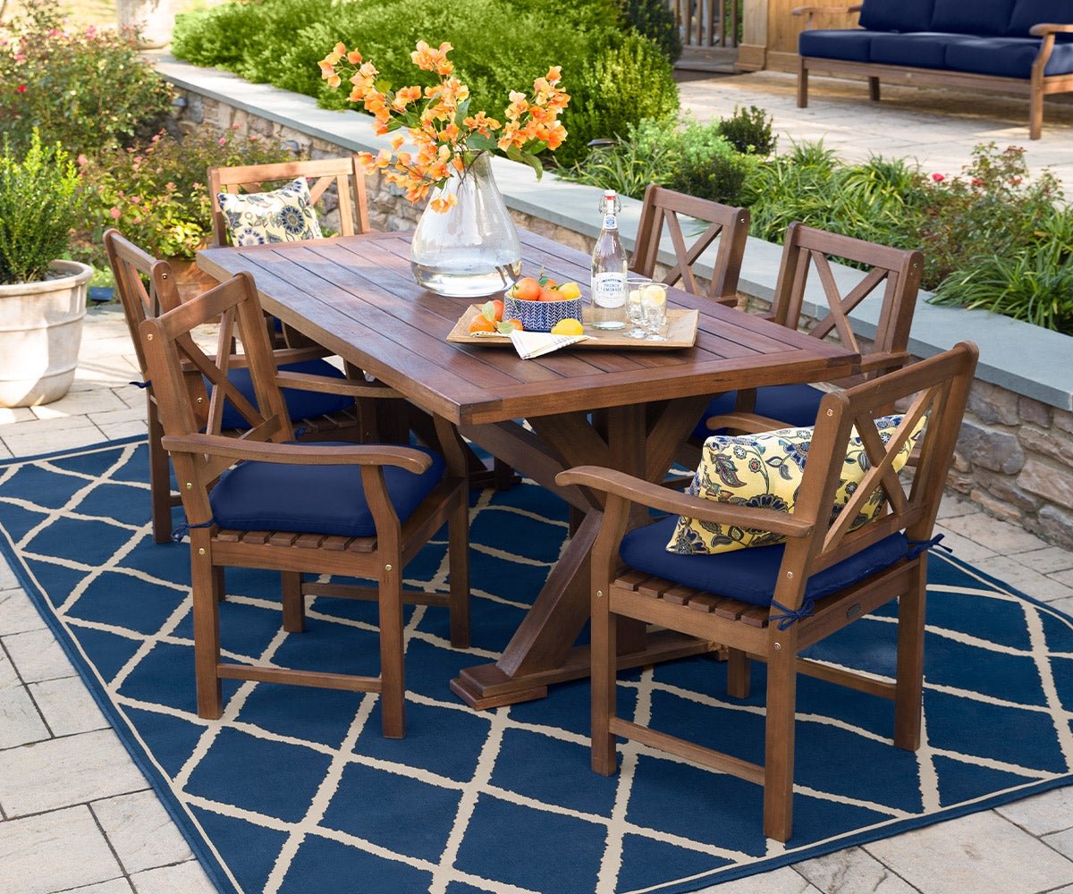 Claremont Outdoor Dining Furniture, Eucalyptus Table and Chairs