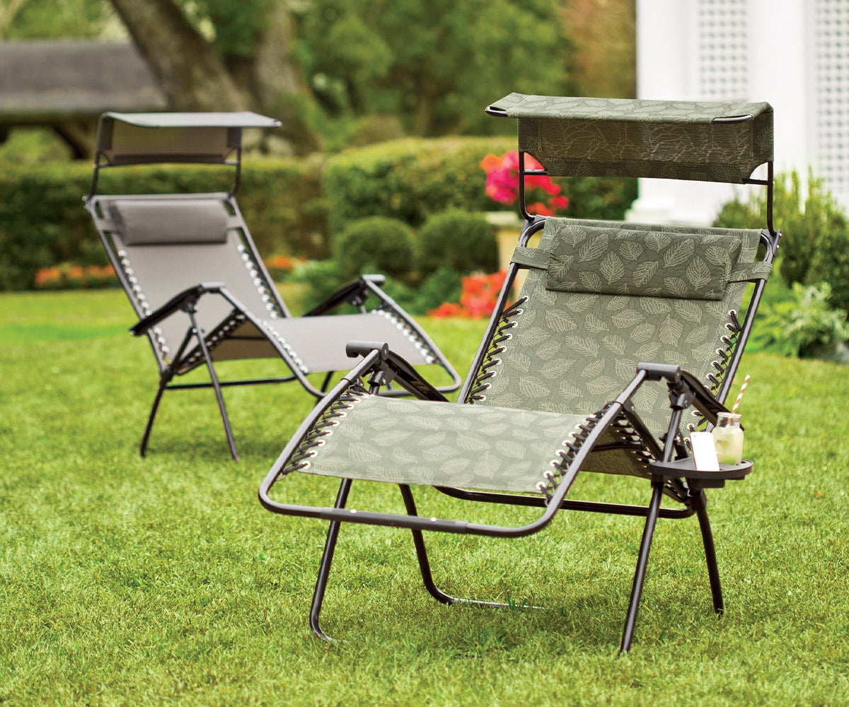 Deluxe Zero Gravity Chair With Awning, Table And Drink Holder - Check