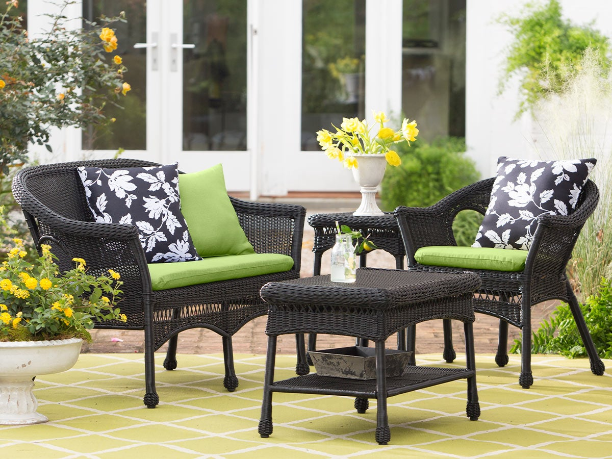 Easy Care Resin Wicker Love Seat, Chairs And Coffee Table Set