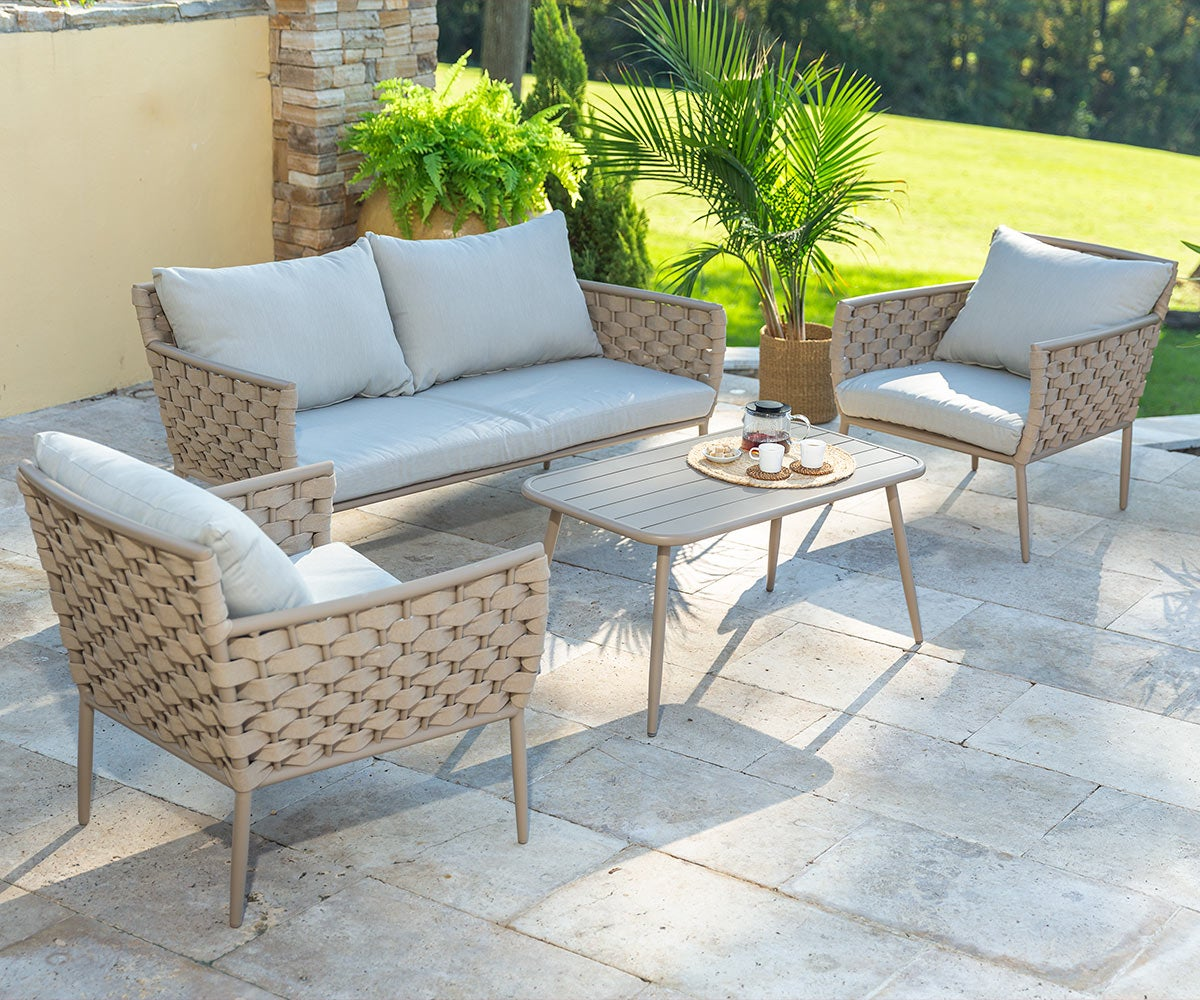Woven Outdoor Lounge Set with Cushions