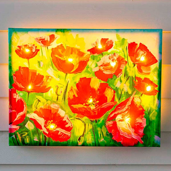 Lighted Poppies Outdoor Safe Canvas Wall Art With Timer