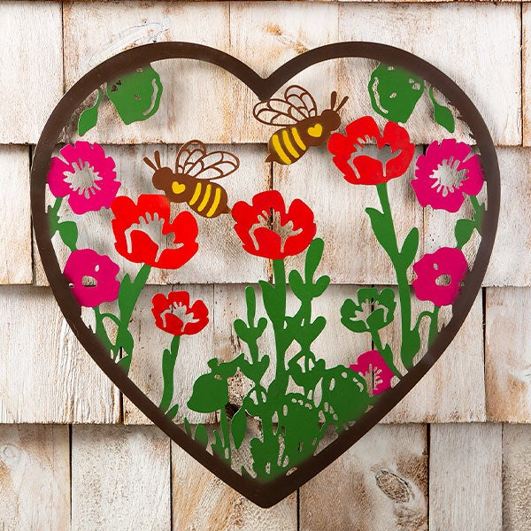 Metal Indoor/Outdoor Heart Wall Art With Bees And Flowers