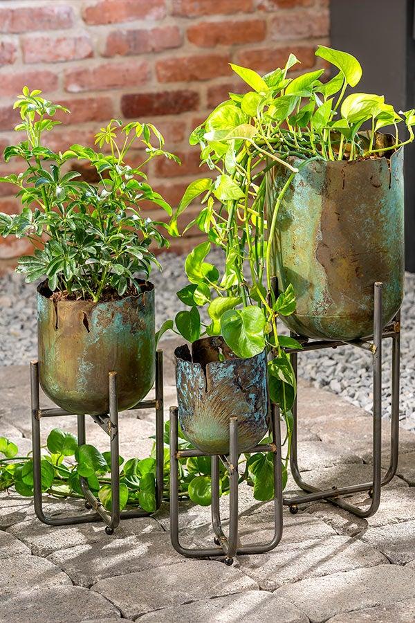 Distressed Metal Raised Planters, Set of 3