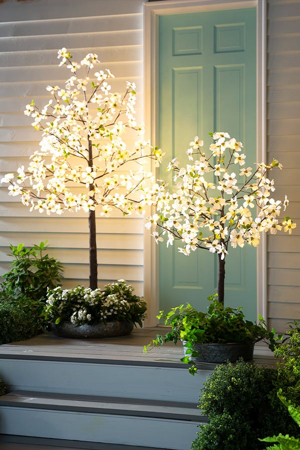 Indoor/Outdoor Electric Lighted Faux Dogwood Trees