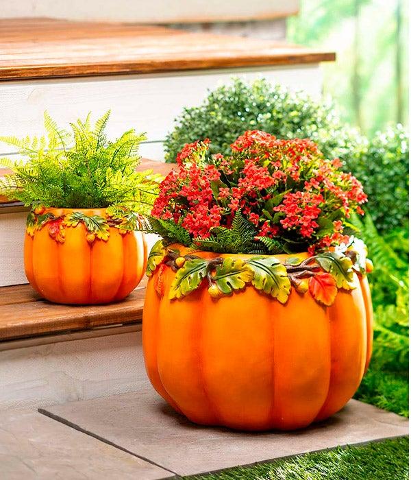 Indoor/Outdoor Pumpkin Planters, Set of 2 shown outdoors with plants