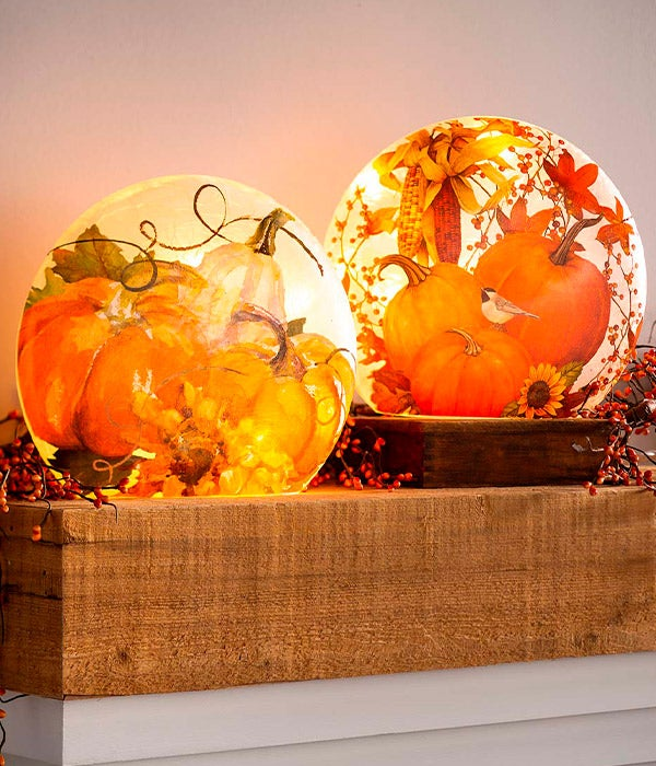 Pumpkin and Sunflower Crackle Glass Accent Light shown on mantel