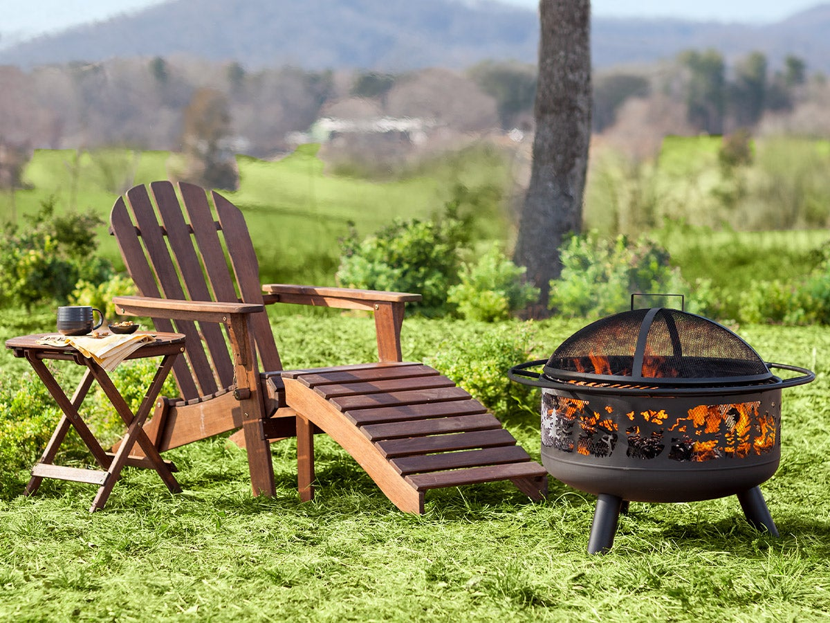 Wooden Adirondack Chair with Ottoman and a firepit