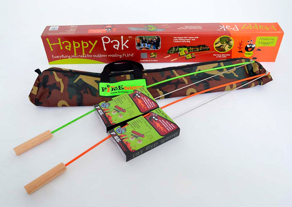 3-Piece Campfire Cooking Fishing Rod Roasters with Camo Bag Set