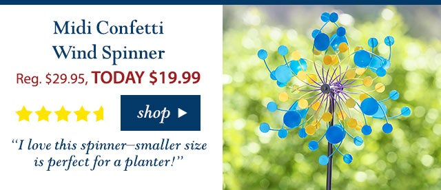 """Midi Confetti Wind Spinner Reg. $29.95 TODAY: $19.99 (33% OFF!) 4.6 stars """"I love this spinner–smaller size is perfect for a planter!"""" Buy Now>"""